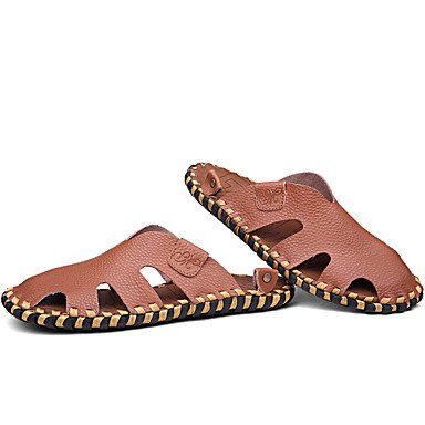 Sandalias de verano zapatos de hombre / Exterior / atléticos casual Zapatillas de cuero marrón / Blanco Blanco