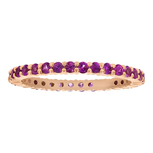 Olivia Paris 14K Rose Gold 1.00 Carat Genuine Pink Sapphire Stackable Eternity Band Ring for Women Size 8
