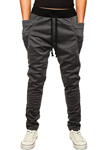 HEMOON Mens Jogging Pants Tracksuit Bottoms Training Running Trousers Dark Grey L