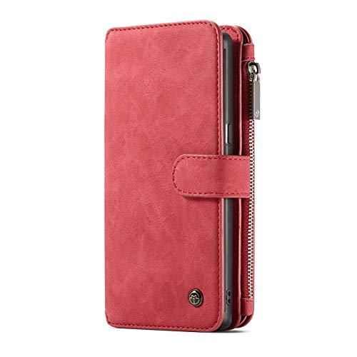 TechCode 6.4'' Samsung Note 9 Case, Magnetic Detachable Premium PU Leather Sleeve Vintage Stand Smart Zipper Wallet Case Protective Cover with Card Slots Cash Pocket for Samsung Galaxy Note 9 (Pink)