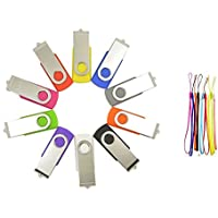 FEBNISCTE 10 Pack Swivel 16GB USB3.0 Memory Stick-10 Color Assorted