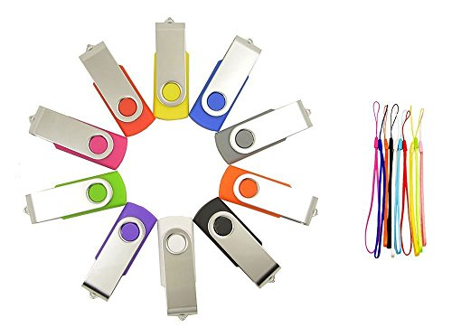 FEBNISCTE 10 Pack Swivel Mix Color 32GB USB3.0 Memory Stick-10 Color Assorted by FEBNISCTE