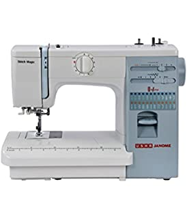 Usha Janome Automatic Stitch Magic 85 Watt Sewing Machine White and Blue  available at Amazon for Rs.15449