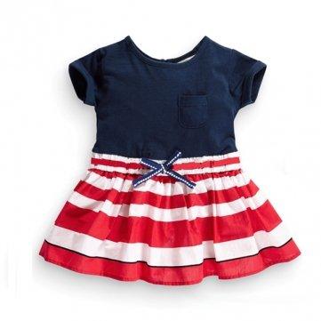 2015nuevos poco maven niña niños verano azul oscuro y rojo vestido de algodón a rayas