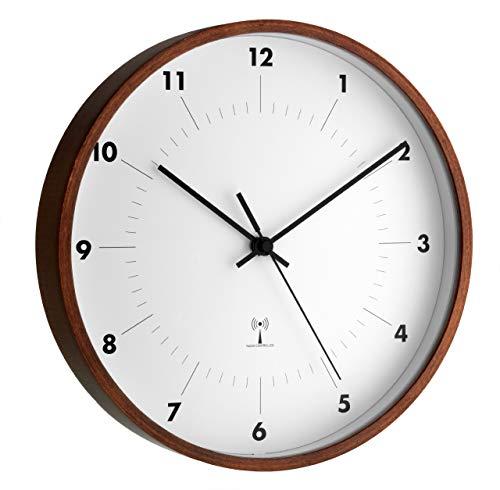 TFA Dostmann 98.1097 - Reloj de Pared controlado por Radio, Marco de Madera
