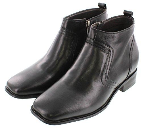 G-CALTO 99809-8,13 (3,2)-Tappetto cm, altezza aumentare ascensore scarpe, colore: nero, con Zip, punta quadrata,)