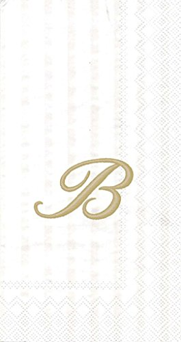 Ideal Home Range 3-Ply Paper Ivory Monogram, 16 Count Guest Towel Napkins Letter B, Set of 2 (2 Monogram)