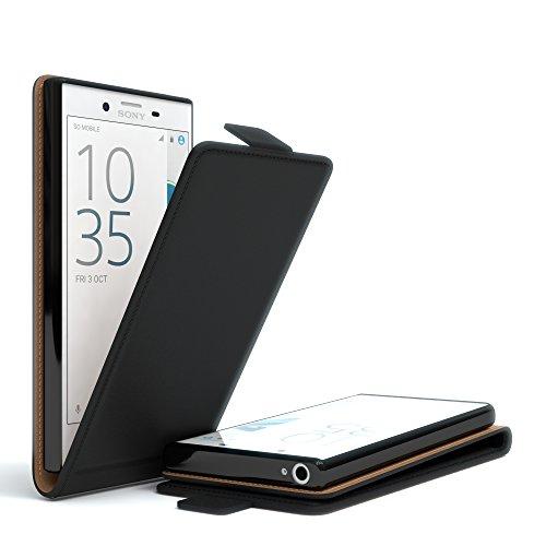 Sony Xperia X Compact Flip Case Hülle - EAZY CASE Premium Klapphülle als Schutzhülle aus Leder in Schwarz