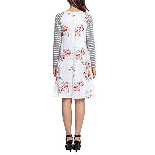 Damen Kleid Longra Frauen Langarm BlumendruckKleid Damen ...