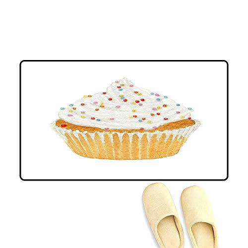 (Floor Mat Pattern Watercolor Cupcakes wi Cream an Decorative Sprinkles)