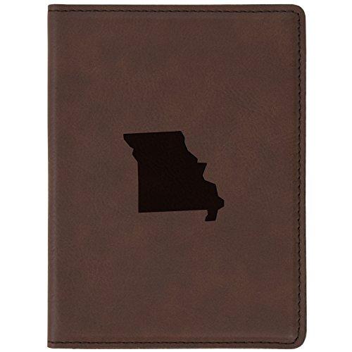"Missouri Brown Leather Passport Holder - Laser Etched Design - 4 X 5.5"" Engraved Passport Holder For Women And Men Missouri Brown Leather"
