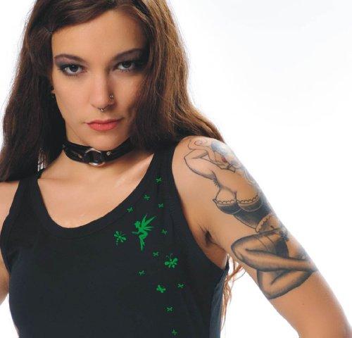 Woman camisa verde verano 3elfen con Play Fairy corto vestido de correas vnnwZTzq