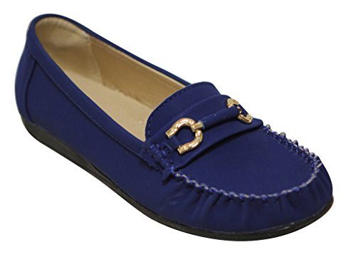 Belladia Boss-01 Donna Punta Tonda Mocassino Fibbia Dorata In Pelle Scamosciata Slip On Flat Shoes Lt Blue
