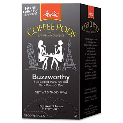 Buzzworthy Coffee Pods - MELITTA USA 75412 Coffee Pods, Buzzworthy (Dark Roast), 18 Pods/Box