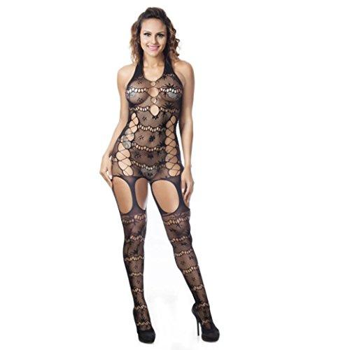 Fashion Lingerie,WYTong Women Fishnet Babydoll Teddy Halter Mesh See-through Sleepwear Nightwear (Black, Free size)