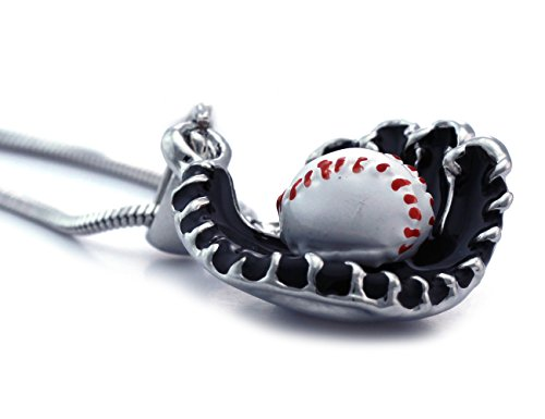 cocojewelry Baseball Glove Sports Charm Player Pendant Necklace Fashion Jewelry (Black)