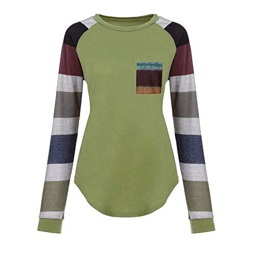 Rayas Mujer Verano Redondo Sudadera Cuello Para Camisa Con Camiseta Primavera De Manga A Larga Riou Elegante Verde 7wH0q0Ipzg