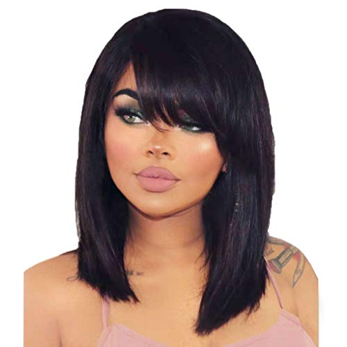 Women Short Straight Wigs Lace Black Wigs, Curly Wavy 14 Inches Synthetic Wig Party Cosplay Wigs, Heat Resistant, Elastic & Smooth, Comfortable & Adjustable (Black)]()