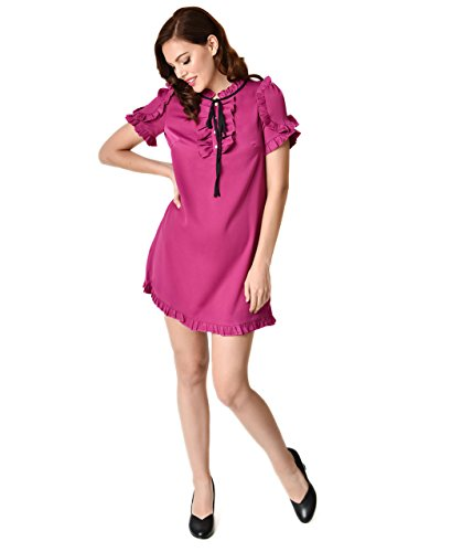 1960s Style Magenta Short Sleeve Ruffle Shift Dress 60s Shift Dress