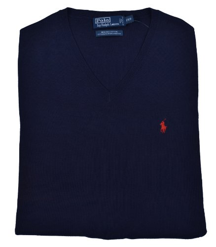 Polo Ralph Lauren Men's Big & Tall Pima Cotton V-Neck Sweater Vest Navy-4XB