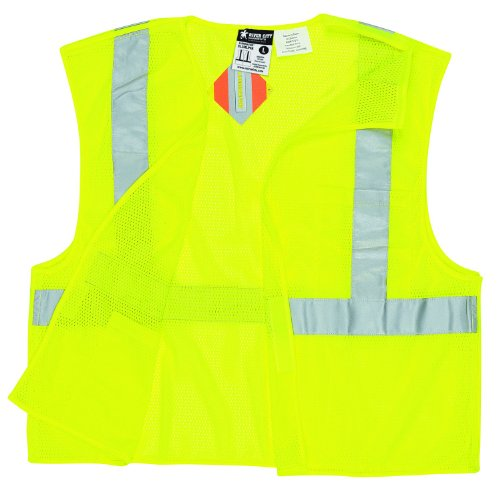 Away Vest Tear Safety (MCR Safety CL2MLL Class 2 Polyester Mesh Tear-Away Safety Vest with 3M Scotchlite 2-Inch Silver Stripe, Fluorescent Lime, Large)