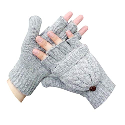 AMAZING AMAZING Women's Winter Mittens Hand Warmer Wool Knitted Glove for Women Thermal Warm Thicken Fitness Gloves #YL