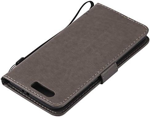 OMATENTI Huawei Honor 9 ケース 手帳型ケース ウォレット型 カード収納 ストラップ付き 高級感PUレザー 押し花木柄 落下防止 財布型 カバー Huawei Honor 9 用 Case Cover, ライトブラウン