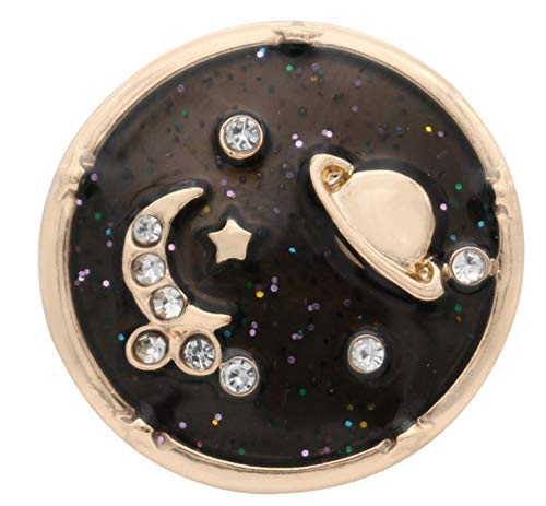 Rockin Angels Gold Black Planet Moon Stars Glitter Sky 20mm Snap Charm for Ginger Snaps ()