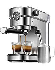 Espresso Machine, 15 Bar Espresso and Cappuccino Machine, Stainless Steel Espresso Maker with Milk Frother Wand and Compact Design, Professional Espresso Coffee Machine for Espresso, Cappuccino and Latte