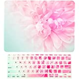 "TOP CASE – 2 in 1 Bundle Deal Floral Pattern Rubberized Hard Case + Keyboard Cover Compatible with Apple MacBook Air 11"" (11"" Diagonally) Model: A1370 / A1465 - Pink Peony on Turquoise Base"