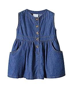 ZANDZ Little Girls Cotton Sleeveless Button Pocket Plaid Casual Summer Dress(Blue,5T-6T)