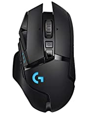 Logitech G502 Lightspeed Wireless Gaming Mouse, Hero 25K Sensor, 25,600 DPI, RGB, Adjustable Weights, 11 Programmable Buttons, Long Battery Life, POWERPLAY-Compatible, PC/Mac - Black