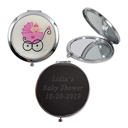 12 Pcs Personalized Compact Mirror Favors Baby Girl Shower Pink/Makeup Purse Mirrors with Organza Bag ()