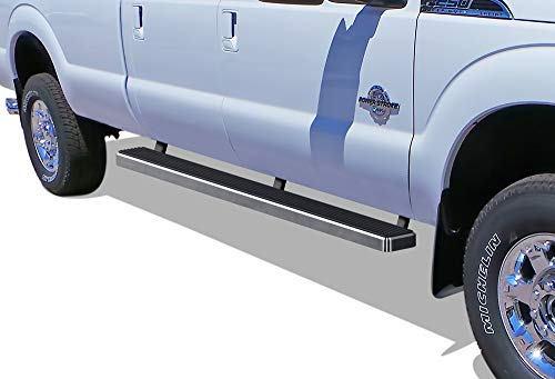(APS iBoard (304 Stainless Steel Polished Silver 5 inches) Running Boards | Nerf Bars | Side Steps | Step Rails Compatible with 1999-2016 Ford F250 / F350 Super Duty Crew Cab)