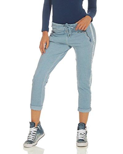 ZARMEXX Dames Pantalons Pantalons Coton Pantalon avec Incrustation 816133 Affaires Boyfriends Occasionnels Jeans Bleu