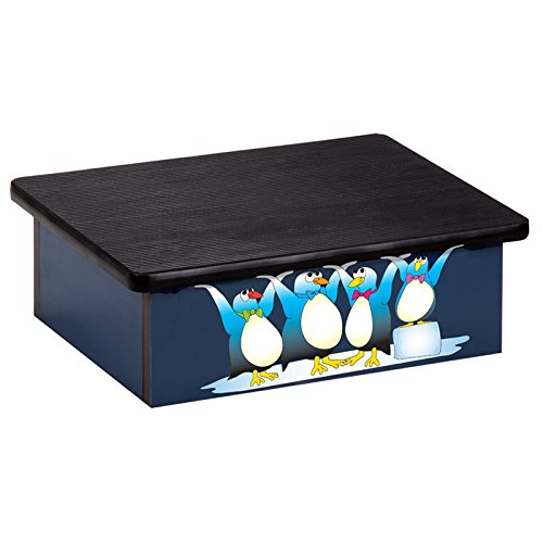 Pediatric Equipment - 20'' x 16'' x 7'' Cool Pals Penguins Blue Laminate Pediatric Step Stool - CL-10-CP-2 by Miller Supply Inc
