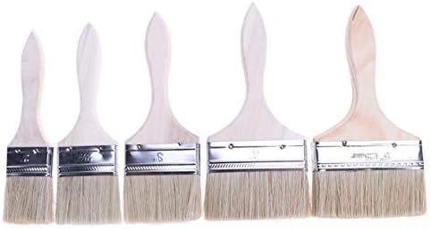 TOPBATHY 5ピース/セット肥厚プロフェッショナル耐久性のある高品質木製ハンドル毛ブラシ塗装バーベキュータッチアップホーム使用