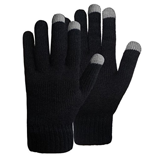 Unisex Touchscreen Warm Outdoor Winter Gloves ( Pack of 3 Black , One Size Fits All , Touch Screen and texting , Knit Magic Stretch Mittens for Men , Women and Children ) by Go Beyond (TM) (Image #3)