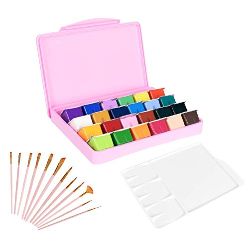 KENTING 24 Colors Gouache Paint Set, 30ml Unique Jelly Cup Design Non-Toxic Watercolor Paint Set with Portable Palette and 12 Paint Brushes with a Carrying Case, Color Painting Pigments for Artists