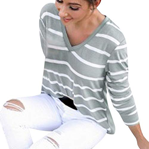 Stripe Shirts for Women,SRYSHKR Long Sleeve Casual Striped V-Neck Pullover Top Blouse (M, Green)