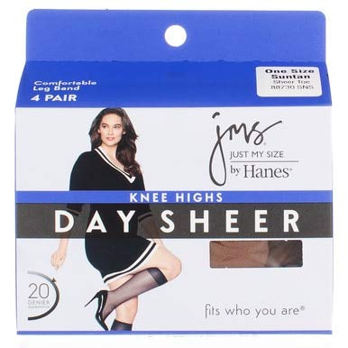 JMS Sheer Toe Knee High 4 Pack_Suntan_1 Size (Just My Size Pantyhose Sheer Toe)
