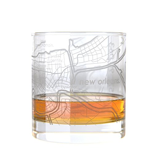 New Orleans Rocks Glass - Uncommon Green New Orleans Map Rocks Etched Whiskey Glass