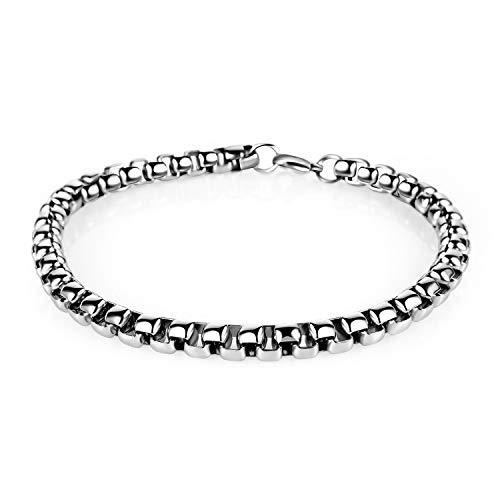 Estendly 7mm 16-38In Stainless Steel Rolo Chain Necklace Cable Square Round Chain Bracelet for Men Women Jewelry