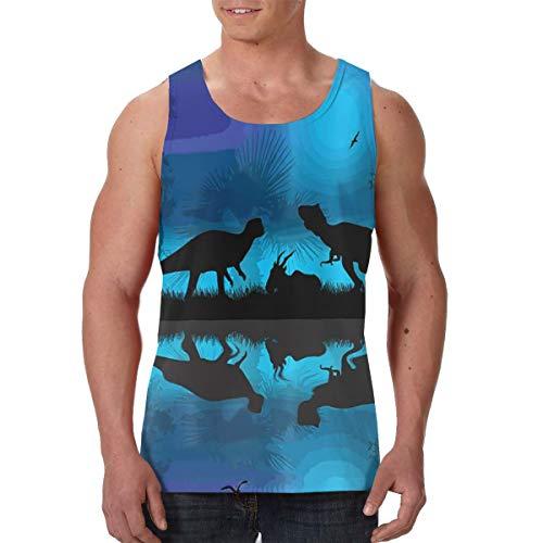 Tank Tops Dinosaurs River Moon Night Dinosaur Summer Tank Top for Men Graphic Sleeveless T Shirt Vest Tee Black]()