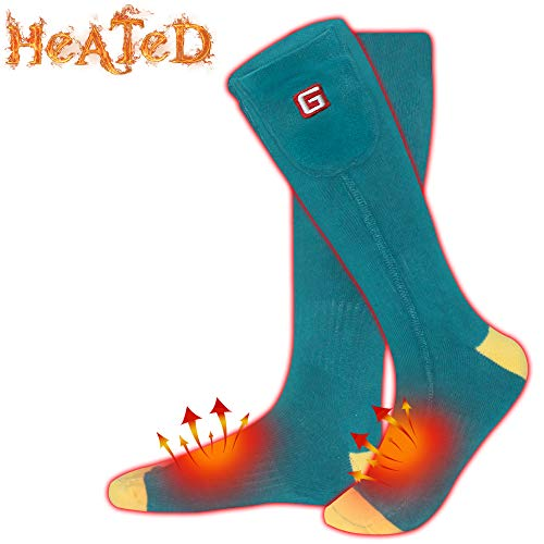 HZ009567 Miiu Men Women Novelty Electric Heated Socks Rechargeable Battery Heat Sox Kit,Winter Thermal Heated Socks Heat Insulated Sock for Sports Outdoors,Handmade,3.7V/2200mAh (Green&Yellow, M)