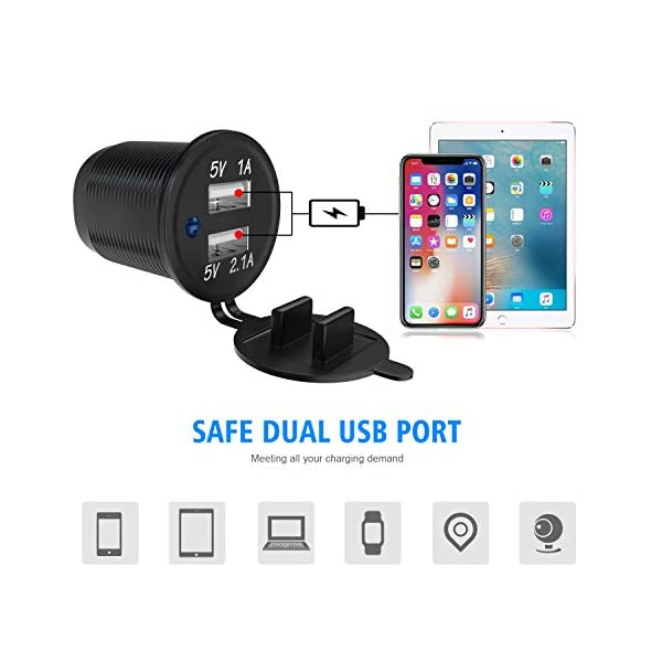 TR Turn Raise Dual USB Ladegerät Aluminium Schalter Panel, LED Voltmeter, 12V Steckdose + ON/OFF Schalter 4 in 1 Panel…