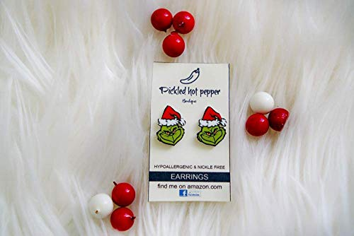 (GRINCH CHRISTMASearrings, DR. seuss children book, christmas movie, santa hat)