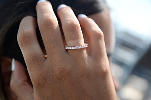 CZ Paved Stackable Eternity Ring Diamond Wedding Band in Rose Gold Size 6 by espere (Image #3)'