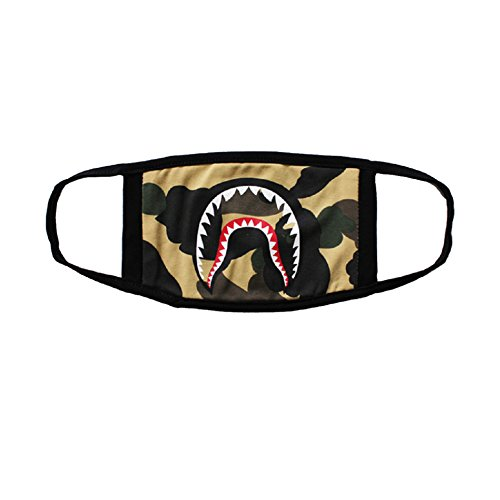 Light Green Camo Shark Face Mask