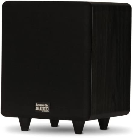 """Acoustic Audio PSW250-6 Home Theater Powered 6.5"""" LFE Subwoofer Black Front Firing Sub"""